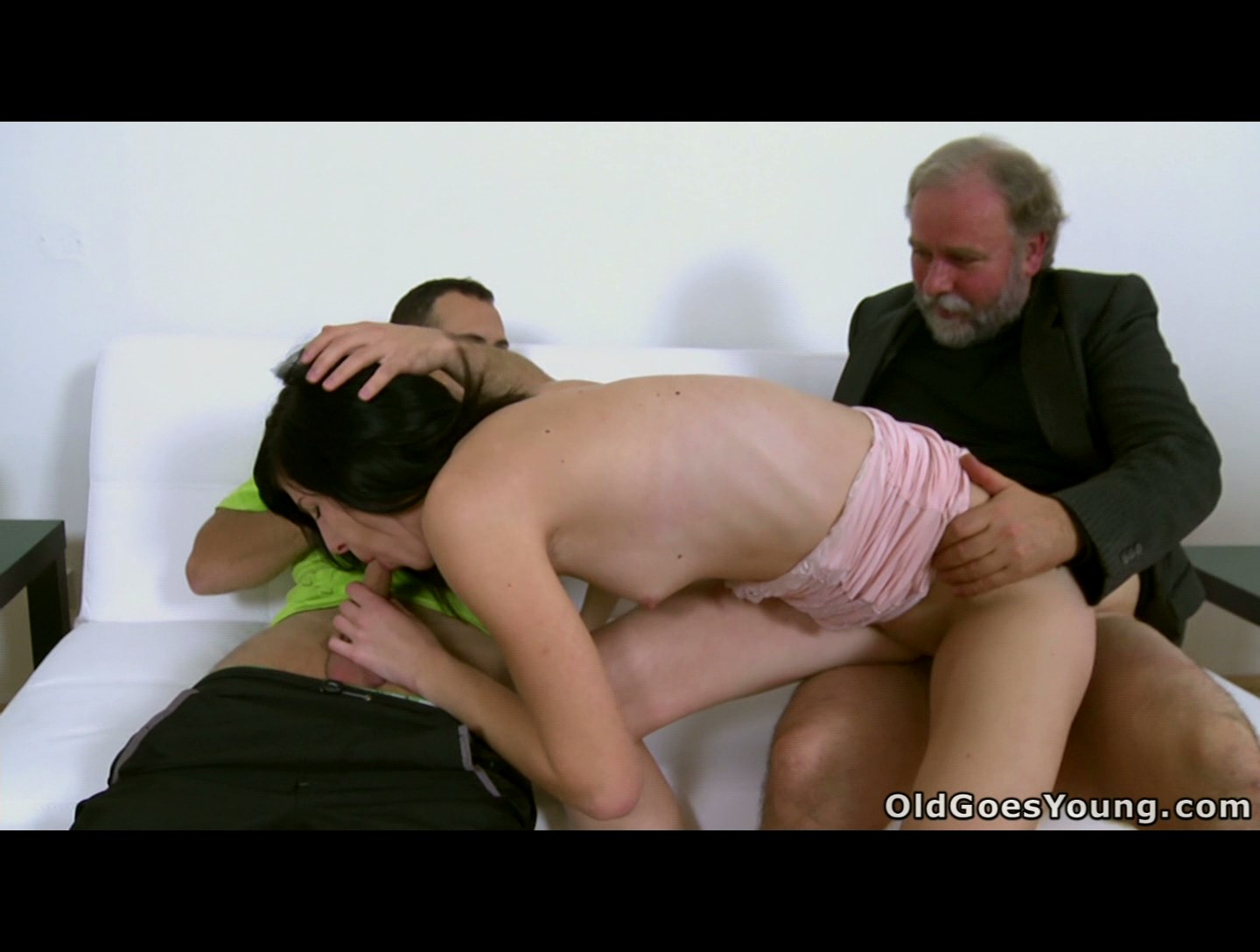 Skinny 18 y.o. brunette doubleteamed by guy and his old mate