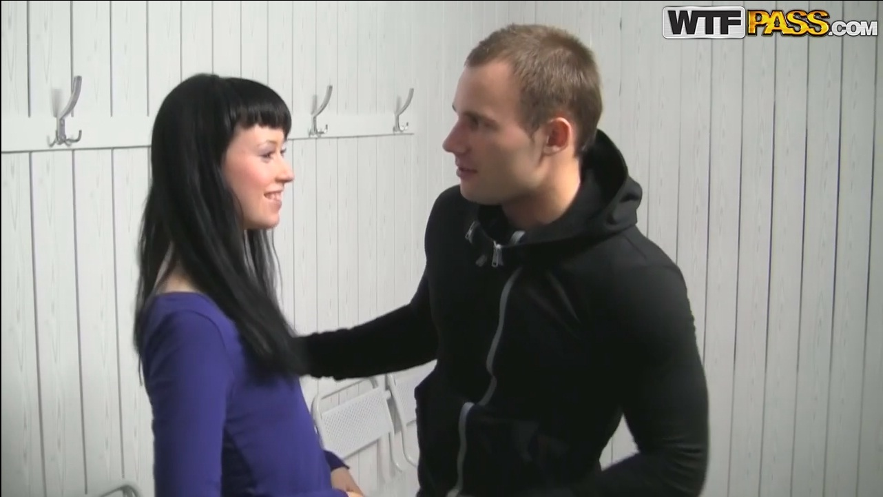 FANTASTIC russian girl don't mind to allow two unknown guys to exploit her tight body for money