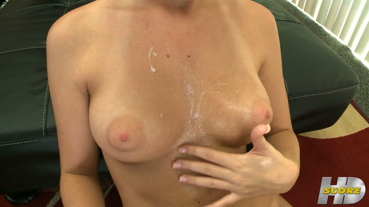 Adorable girl gives amazing handjob and gets jizz on her chest