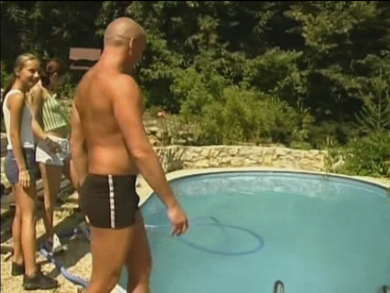 Guy meet guests. Two sexy kittens playing with cock by the pool