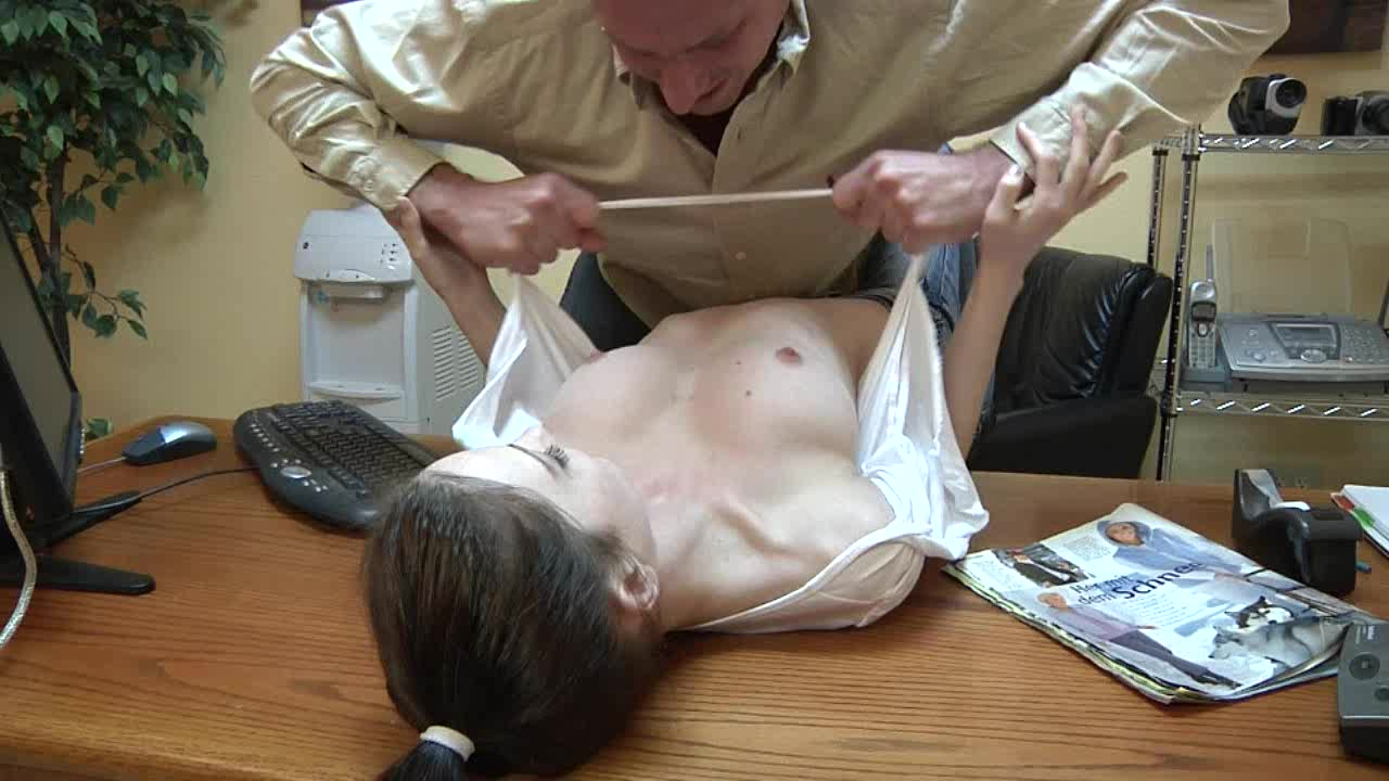 Adorable girl exploited on her boss table. MUST SEE!