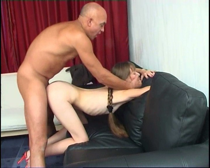 Little flatchested babe exploited by tricky guy
