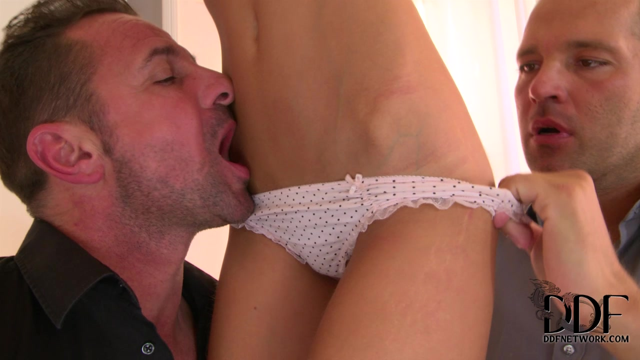 Young tiny secretary doubleteamed by her boss and his friend
