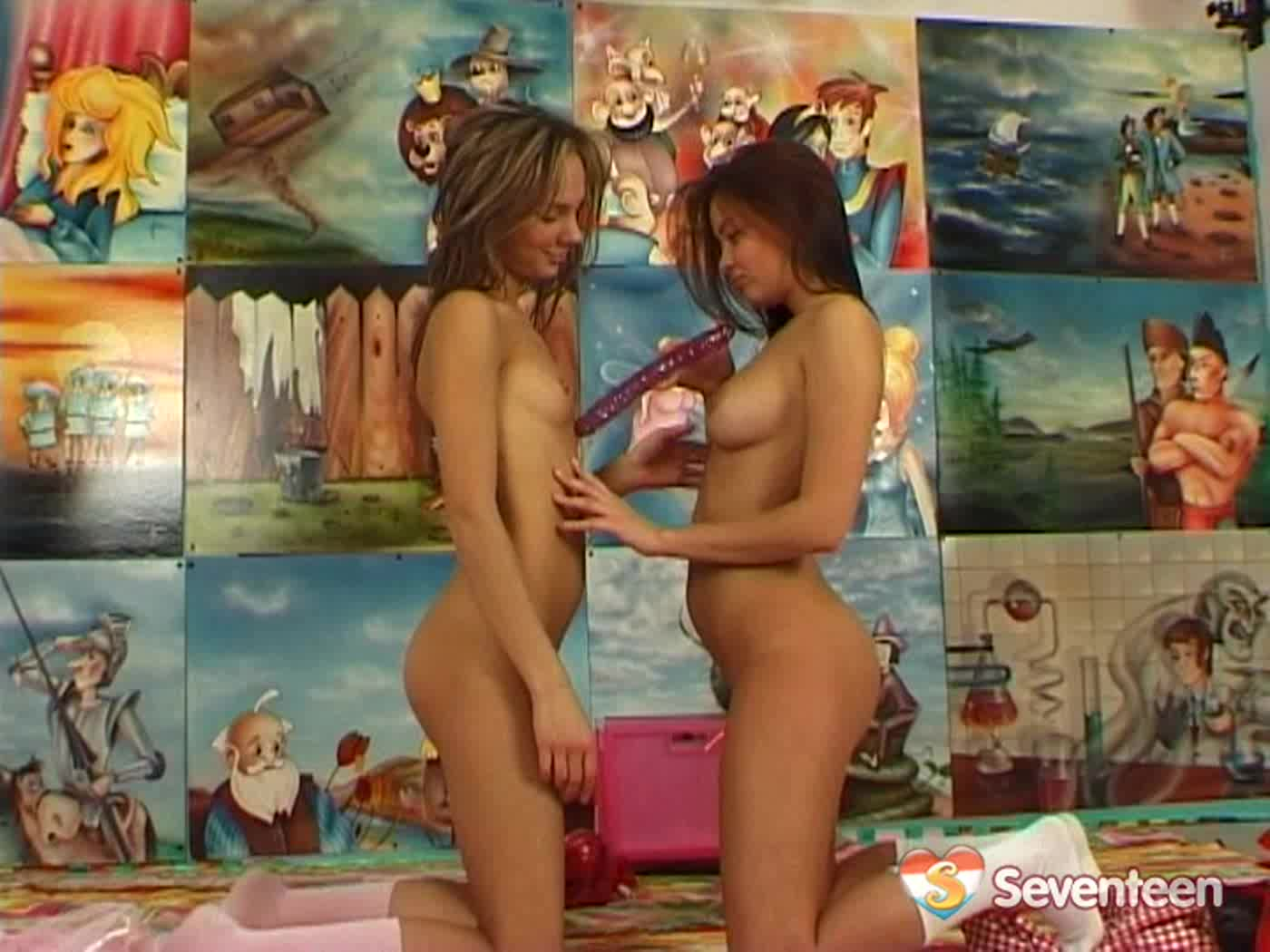 Two beautiful naughty teenage girls having fun