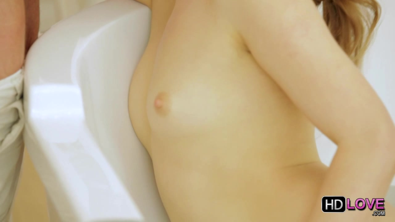Adorable tiny tits cutie caught in bathroom and fucked hard into both of her tight holes. EPIC!