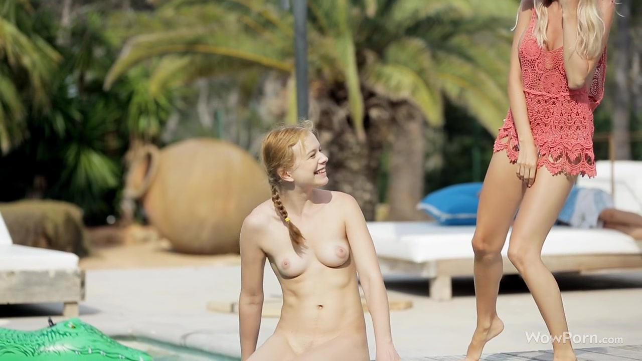 Hot threesome having fun by the pool. EPIC!