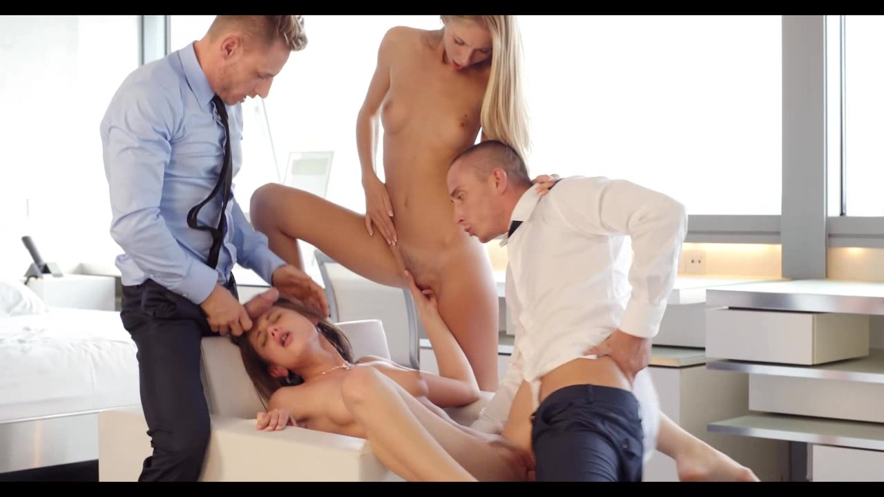 Two amazing young babes serves guys