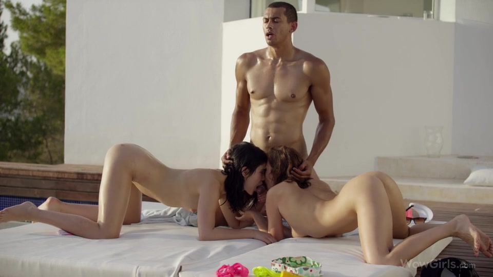Hot threesome fuck by the pool