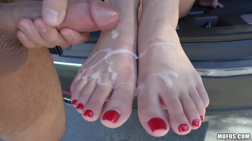 Adria Rae - Red Toe Cumshot for Foot Lover