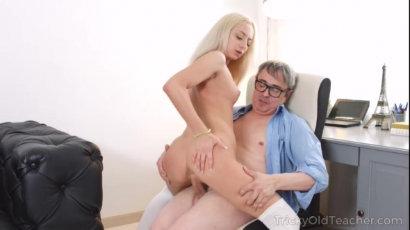 Angela Bambi - Blondie rides her old teacher