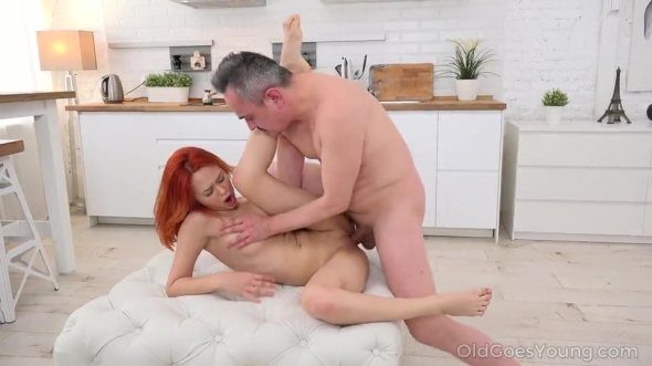 Michelle Can - Ginger sweetie takes old dick into her fresh holes