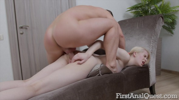 Viktoria Clockwork - Skinny blonde Viktoria Clockwork first anal with cum on anus!