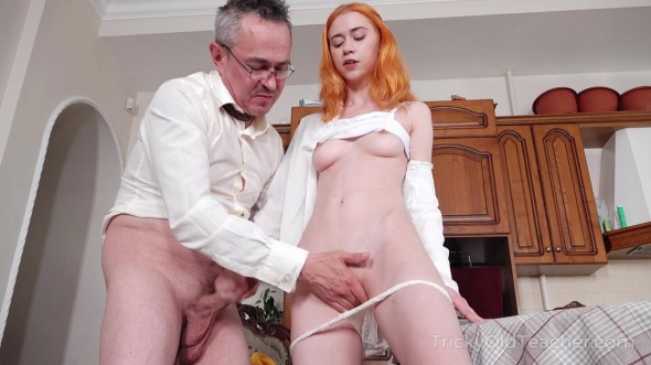 Ginger chick agrees to get her three holes exploited by her teacher 720p