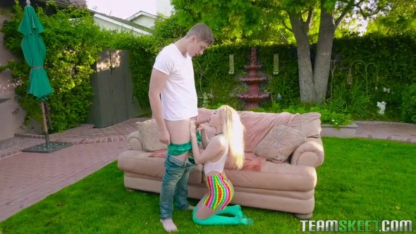 Tiny blonde gets fucked in the backyard