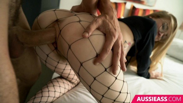 Petite sweetie in sexy fishnet stockings making out with guy before deep throating his oversized penis 720p