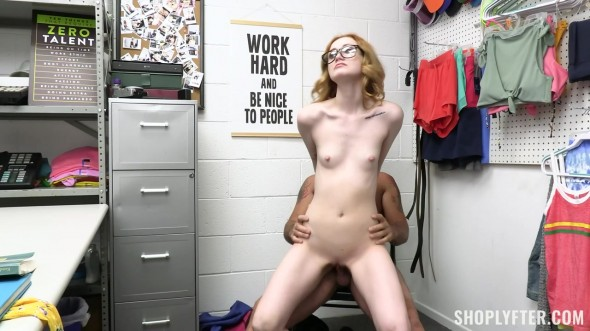 Tiny blonde nerd fucked by security officer 720p