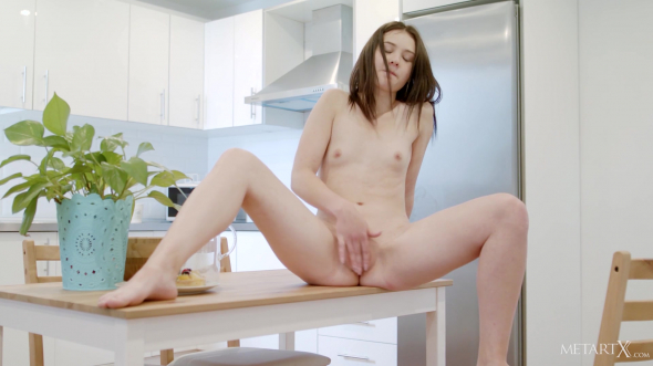 Cute brunette is busy in the kitchen 1080p